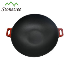 Wholesale Industrial Chinese Red Enamel Cast Iron Wok Set